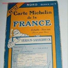 Mapas contemporáneos: CARTE MICHELIN DE LA FRANCE - VERDUN - SARREBRUCK- MICHELIN - Nº 57 - AÑO 1927 APROXIMADAMENTE - MA. Lote 2095947