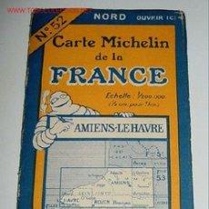 Mapas contemporáneos: CARTE MICHELIN DE LA FRANCE - AMIENS - LE HAVRE - MICHELIN - Nº 52 - AÑO 1927 APROXIMADAMENTE - MAP. Lote 2095985