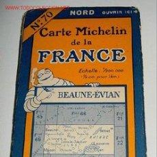 Mapas contemporáneos: CARTE MICHELIN DE LA FRANCE - BEAUNE - EVIAN- MICHELIN - Nº 70 - AÑO 1927 APROXIMADAMENTE - MAPA DE. Lote 2095994
