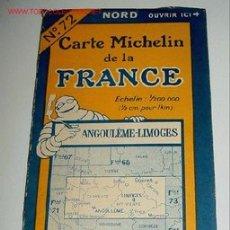 Mapas contemporáneos: CARTE MICHELIN DE LA FRANCE - ANGOULEME - LIMOGES - MICHELIN - Nº 72 - AÑO 1927 APROXIMADAMENTE - M. Lote 2096004