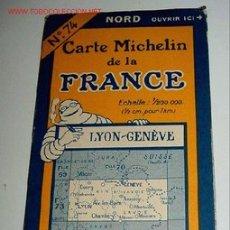 Mapas contemporáneos: CARTE MICHELIN DE LA FRANCE - LYON - GENEVE - MICHELIN - Nº 74 - AÑO 1927 APROXIMADAMENTE - MAPA DE. Lote 2096007