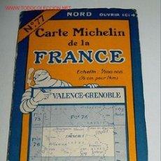 Mapas contemporáneos: CARTE MICHELIN DE LA FRANCE - VALENCE - GRENOBLE - MICHELIN - Nº 77 - AÑO 1927 APROXIMADAMENTE - MA. Lote 2096011