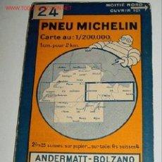 Mapas contemporáneos: ANTIGUO MAPA DE MICHELIN DE SUIZA - PNEU MICHELIN - ANDERMATT BOLZANO - Nº 24 - GUIA CARRETERA - COC. Lote 2100228