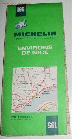 ANTIGUO MAPA DE CARRETERAS ENVIRONS DE NICE - MICHELIN - Nº 195 FRANCE - PLANO PLEGADO. (Coleccionismo - Mapas - Mapas actuales (desde siglo XIX))