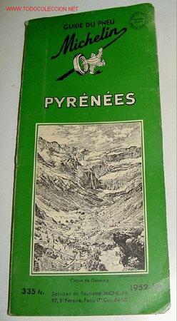 ANTIGUO MAPA DE CARRETERAS GUIDE DE PNEU PYRENEES - MICHELIN - PLANO PLEGADO. (Coleccionismo - Mapas - Mapas actuales (desde siglo XIX))