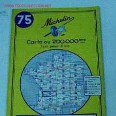 Mapas contemporáneos: ANTIGUO MAPA DE MICHELIN ESPAÑA - NEUMATICOS MICHELIN - BOURDEAUX TULLE- Nº 75 - GUIA CARRETERA - CO. Lote 2100594