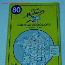 Mapas contemporáneos: ANTIGUO MAPA DE MICHELIN ESPAÑA - NEUMATICOS MICHELIN - RODEZ NIMES - Nº 80 - GUIA CARRETERA - COCHE. Lote 2100598