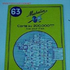 Mapas contemporáneos: ANTIGUO MAPA DE MICHELIN ESPAÑA - NEUMATICOS MICHELIN - VANNES ANGERS- Nº 63 - GUIA CARRETERA - COCH. Lote 2100620