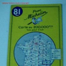 Mapas contemporáneos: ANTIGUO MAPA DE MICHELIN ESPAÑA - NEUMATICOS MICHELIN - AVIGNON DIGNE - Nº 81 - GUIA CARRETERA - COC. Lote 2104275
