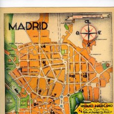 Mapas contemporáneos: MAPA PLANO MADRID COMUNICACIONES AÑOS 40-50 CON PUBLICIDAD EN PARTE POSTERIOR. Lote 9948623