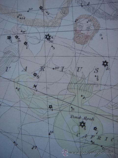 MAPA BOVEDA CELESTE (1) CONSTELACIONES ZODIACALES, PTOLOMEO Y OTRAS, ORIGINAL, SDUK, 1883, PERFECTO (Coleccionismo - Mapas - Mapas actuales (desde siglo XIX))