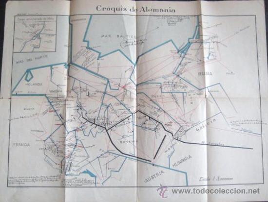 MAPA CROQUIS DE ALEMANIA.1909.GEOGRAFIA MILITAR MONTERO. ENVIO GRATIS¡¡¡ (Coleccionismo - Mapas - Mapas actuales (desde siglo XIX))