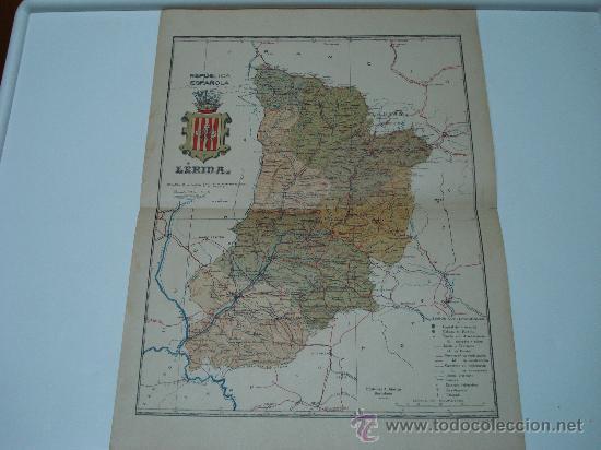 MAPA LERIDA REPUBLICA ESPAÑOLA AÑOS 30 (Coleccionismo - Mapas - Mapas actuales (desde siglo XIX))