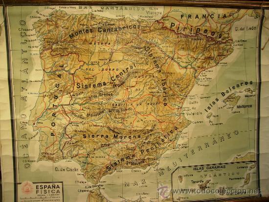 Mapa De España Bonito.Mapa De Escuela Espana Fisica 1 17x88 En Tela Vendido En