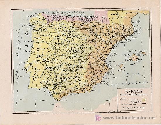 Mapa Hidrografico De España.Espana Mapa Hidrografico 22 X 27 Cm Sold Through Direct