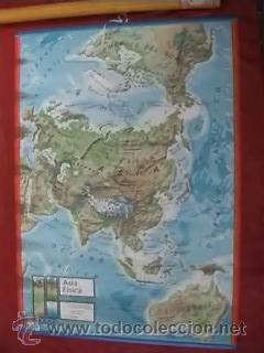 MAPA COLEGIO MAPAS MURALES ASIA FISICA POLITICA A DOS CARAS VICENS VIVES 82X127CM (Coleccionismo - Mapas - Mapas actuales (desde siglo XIX))