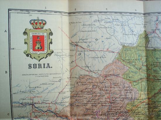 MAPA ENTELADO ,PROVINCIA DE SORIA -MUY BIEN CONSERVADO (Coleccionismo - Mapas - Mapas actuales (desde siglo XIX))