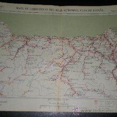 Cartes géographiques contemporaines: MAPA ENTELADO DE OVIEDO MONDOÑEDO GIJON PAJARES RIVADEO AVILES REAL AUTOMOVIL CLUB AÑOS 20 . Lote 13581572