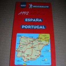 Mappe contemporanee: MAPA MICHELIN, Nº 990. ESPAÑA-PORTUGAL. AÑO 1998. MIDE 11,5 X 25 CM. PLEGADO.. Lote 14017749
