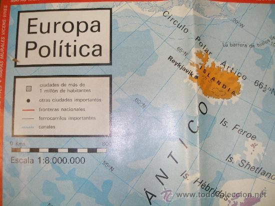 mapa europa com escala europa política . mapa vicens   vives . escala   Comprar Mapas  mapa europa com escala