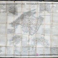 Mapas contemporáneos: ISLAS BALEARES, POR FRANCISCO COELLO, AÑO 1851 (MALLORCA, IBIZA, MENORCA) MEDIDA: 106 X 80 CM. Lote 27594302