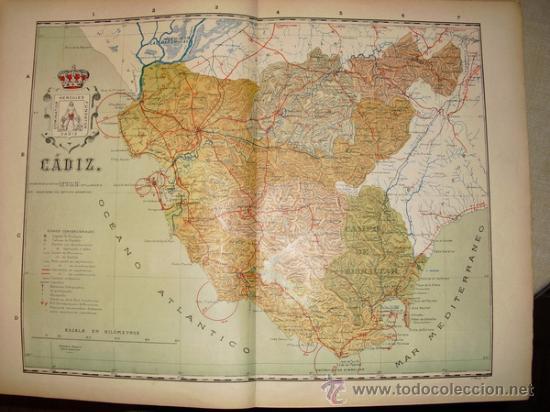 191? MAPA DE LA PROVINCIA DE CADIZ BENITO CHIAS Y CARBO (Coleccionismo - Mapas - Mapas actuales (desde siglo XIX))