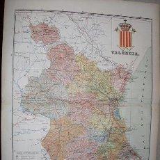 Mapas contemporáneos: 191? MAPA DE LA PROVINCIA DE VALENCIA BENITO CHIAS Y CARBO. Lote 25739729