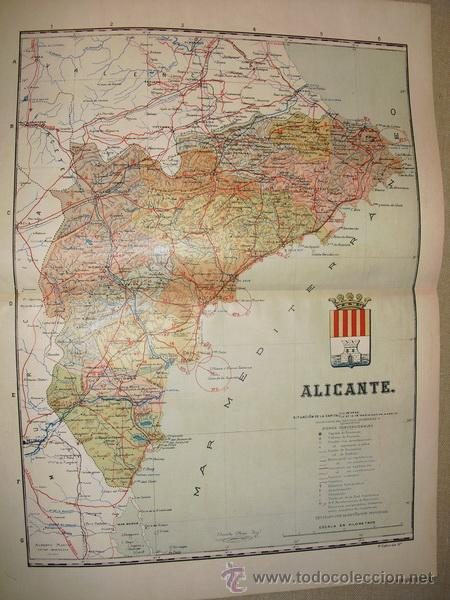 191? MAPA DE LA PROVINCIA DE ALICANTE BENITO CHIAS Y CARBO (Coleccionismo - Mapas - Mapas actuales (desde siglo XIX))