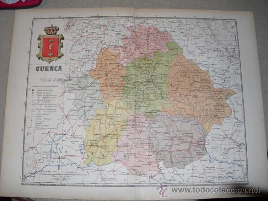 191? MAPA DE LA PROVINCIA DE CUENCA BENITO CHIAS Y CARBO (Coleccionismo - Mapas - Mapas actuales (desde siglo XIX))