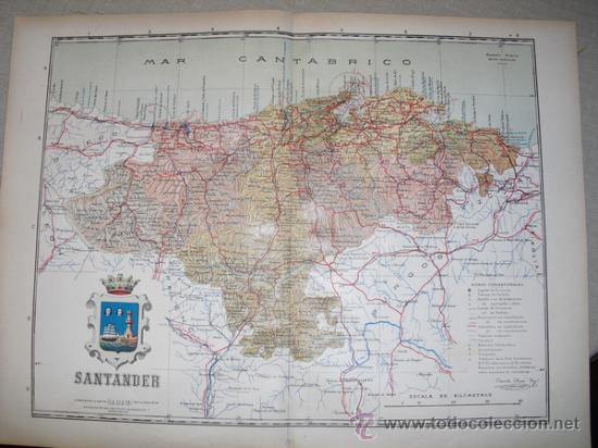 191? MAPA DE LA PROVINCIA DE SANTANDER BENITO CHIAS Y CARBO (Coleccionismo - Mapas - Mapas actuales (desde siglo XIX))