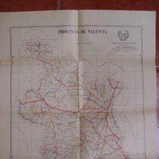 Mapas contemporáneos: PLANO DE LAS CARRETERAS NACIONALES, PROVINCIALES Y CAMINOS VECINALES DE LA PROVINCIA VALENCIA. 1935. Lote 17269298