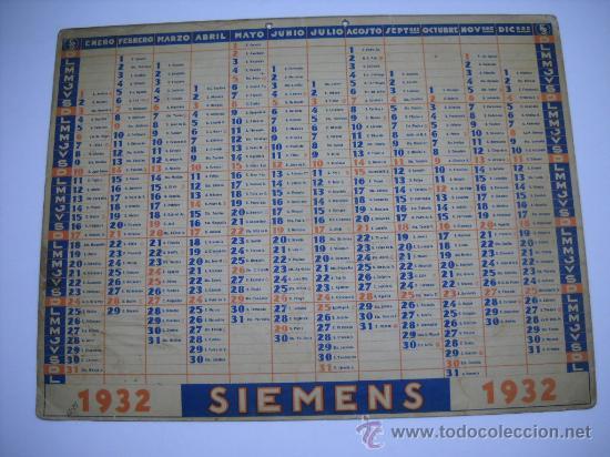 Calendario 1932 Espana.Mapa De Ferrocarriles De Espana Publicidad Siemens Calendario 1932 En Trasera 44x33 En Carton