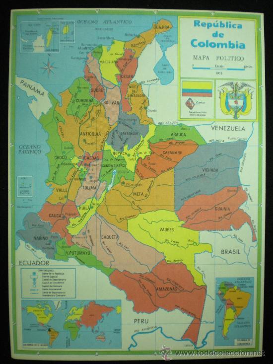 Mapa República De Colombia Mapa Político 197 Kaufen