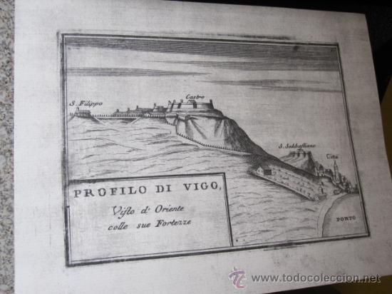 10 FACSIMILES GRABADO VIGO - PERFIL DEL CASTILLO Y FORTALEZAS MEDIADOS XVII - 23X17CM CORREO 2.50€ (Coleccionismo - Mapas - Mapas actuales (desde siglo XIX))