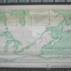 Mapas contemporáneos: MAPA THE ROBERT REFORD COMPANY LIMITED .. RUTAS ACUÍFERAS PARA BARCOS DE VAPOR POR CANADÁ +/- 1866. Lote 21718314