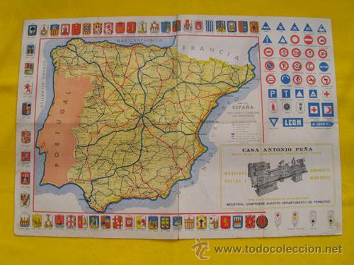 Provincias Mapa De España Carreteras.Antiguo Mapa Espana De Ferrocarriles Y Carreteras Con Los Escudos De Las Provincias Publicidad