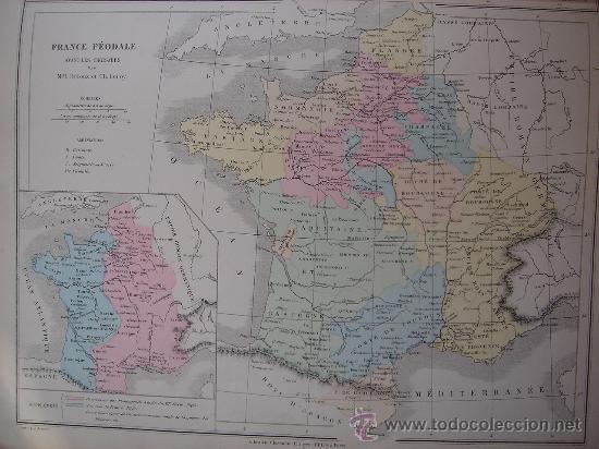 Mapas contemporáneos: MAPA DE EUROPA Y FRANCIA EN LA ÉPOCA FEUDAL, ORIGINAL, DRIOUX , 1887, PERFECTO. - Foto 3 - 27415687