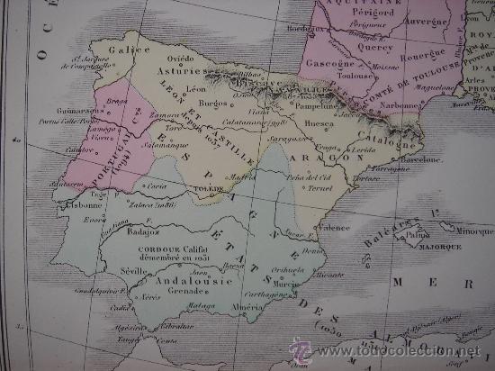 Mapas contemporáneos: MAPA DE EUROPA Y FRANCIA EN LA ÉPOCA FEUDAL, ORIGINAL, DRIOUX , 1887, PERFECTO. - Foto 5 - 27415687