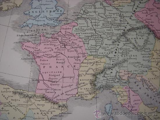 Mapas contemporáneos: MAPA DE EUROPA Y FRANCIA EN LA ÉPOCA FEUDAL, ORIGINAL, DRIOUX , 1887, PERFECTO. - Foto 6 - 27415687