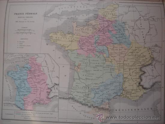 Mapas contemporáneos: MAPA DE EUROPA Y FRANCIA EN LA ÉPOCA FEUDAL, ORIGINAL, DRIOUX , 1887, PERFECTO. - Foto 10 - 27415687