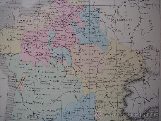Mapas contemporáneos: MAPA DE EUROPA Y FRANCIA EN LA ÉPOCA FEUDAL, ORIGINAL, DRIOUX , 1887, PERFECTO. - Foto 13 - 27415687