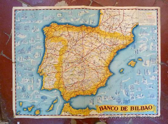 Antiguo mapa red de sucursales banco de bilba comprar for Sucursales banco espana