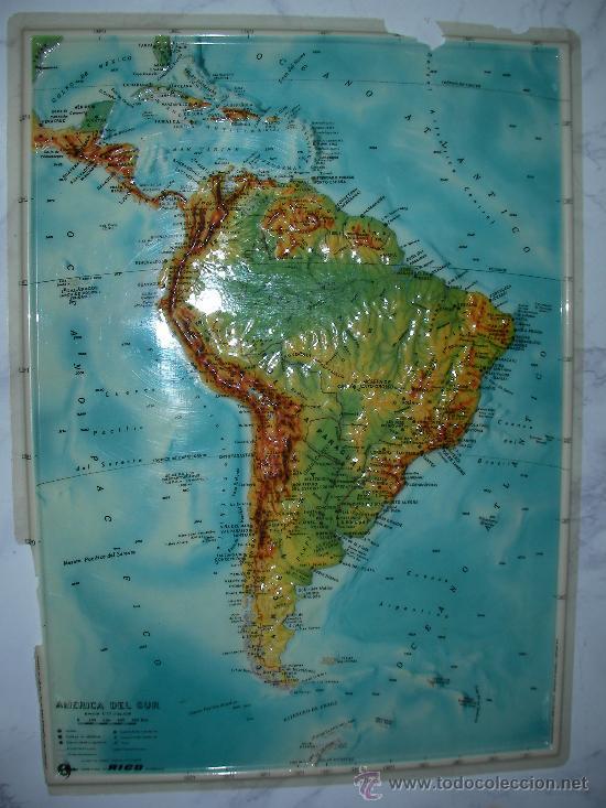 antiguo mapa con relive de america del sur marc - Kaufen ...