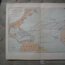 Mapas contemporáneos: 1888 MAPA DE LAS DERROTAS QUE SIGUIÓ COLON SEGUN MARTIN FERNANDEZ DE NAVARRETE. Lote 27215507