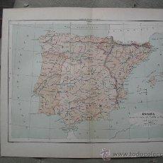 Mapas contemporáneos: 1889 MAPA DE ESPAÑA HASTA LA UNION DE CASTILLA Y ARAGON 1257 A 1515. Lote 25736650