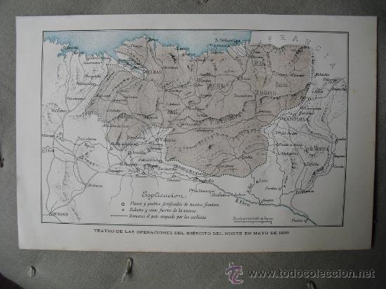 Primera Guerra Carlista Mapa.1889 Primera Guerra Carlista Mapa Del Teatro Vendido En