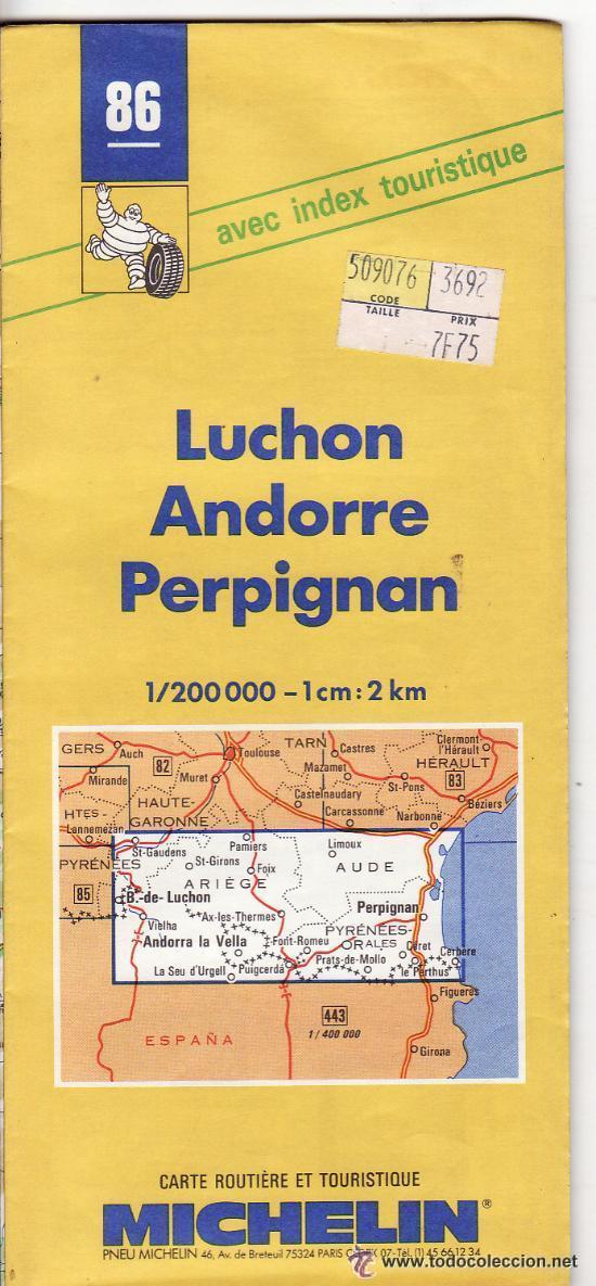 == PP280 - GUIA MICHELIN - LUCHON - ANDORRE - PERPIGNAN (Coleccionismo - Mapas - Mapas actuales (desde siglo XIX))