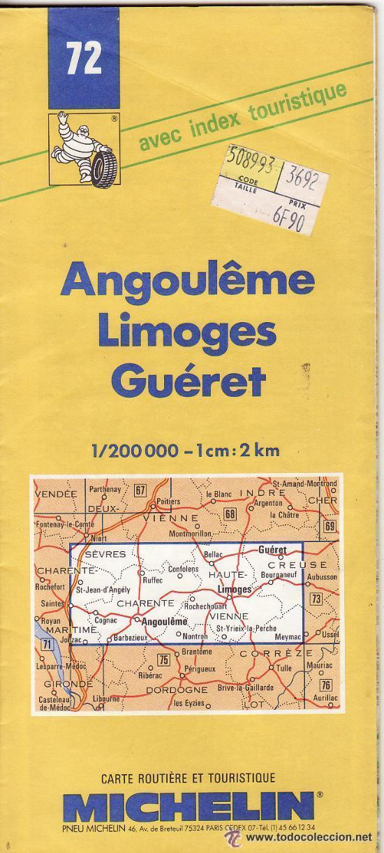 == PP282 - GUIA MICHELIN - ANGOULEME - LIMOGES - GUÉRET (Coleccionismo - Mapas - Mapas actuales (desde siglo XIX))