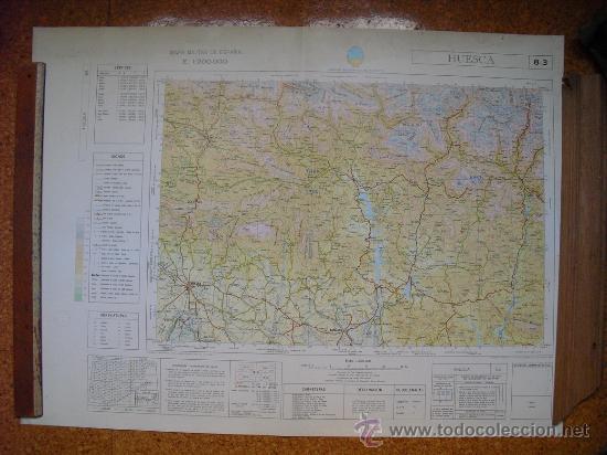 1969 MAPA DE HUESCA DEL MAPA MILITAR DE ESPAÑA E 1: 200000 (Coleccionismo - Mapas - Mapas actuales (desde siglo XIX))
