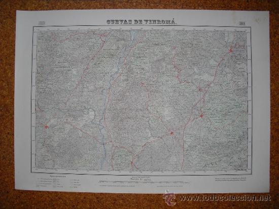PRIMERA EDICION EN 1952 DEL MAPA DE CUEVAS DE VINROMA E 1:50000 EDICION EN VARIAS TINTAS (Coleccionismo - Mapas - Mapas actuales (desde siglo XIX))